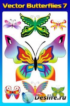 Бабочки (насекомые в векторе) часть седьмая