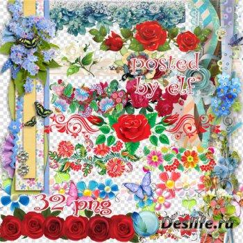 Цветочные виньетки, бордюры, скрап композиции - клипарт в png
