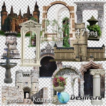Клипарт png - старинные замки, башни, элементы архитектуры