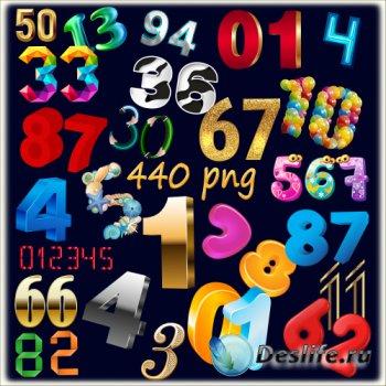 PNG клипарт без фона - 44 набора декоративных цифр