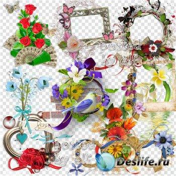 Композиции с цветами, цветочные кластеры в png