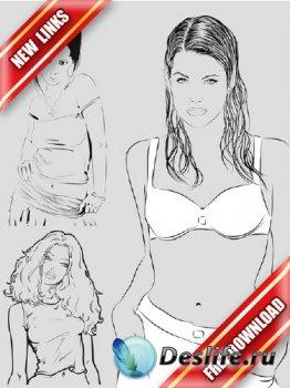 Векторрный сток: девушки в черно-белом исполнении (рабочие ссылки, бесплатн ...