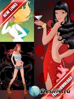 Векторный сток: прекрасные девушки (часть 5) рабочие ссылки, бесплатные фай ...