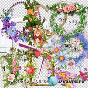 Подборка png рамок-вырезов для дизайна - Цветочная коллекция