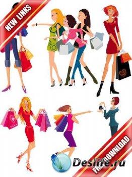 Векторный сток: девушки делают покупки (рабочие ссылки, бесплатные файлообм ...