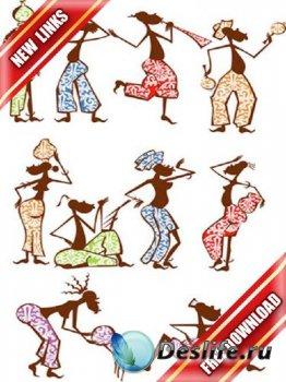 Векторный сток: забавные африканцы в векторе (рабочие ссылки, бесплатные фа ...