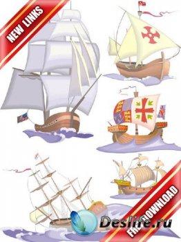 Векторный сток: корабли, парусники, каравеллы, фрегаты и яхты (рабочие ссыл ...