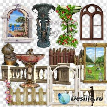 Клипарт на прозрачном фоне - Окна, заборы, ограды, фонтаны