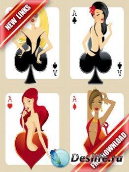 Векторный сток: девушки и игральные карты (рабочие ссылки, бесплатные файло ...