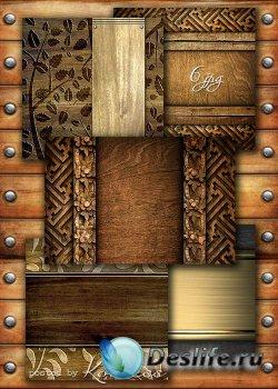 Деревянные фоны с резьбой и и декоративными элементами для дизайна