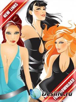 Векторные гламурные девушки на вечеринке (часть 3) рабочие ссылки, бесплатн ...