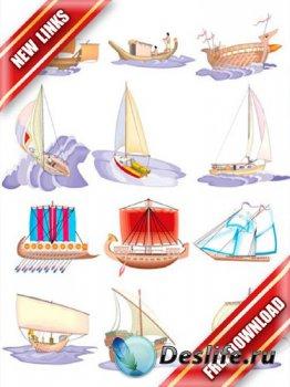 Векторный сток: парусники и яхты (древние и современные) рабочие ссылки, бе ...