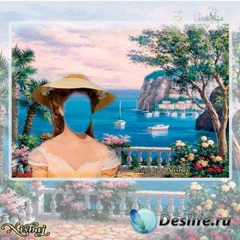 Женский фотошаблон для монтажа - Морская прогулка