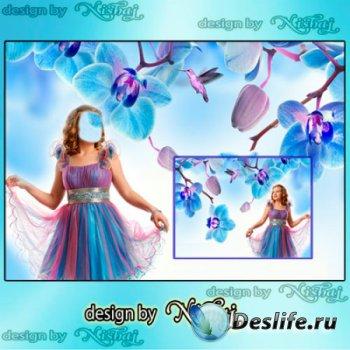 Женский фотошаблон для монтажа - Голубые грезы