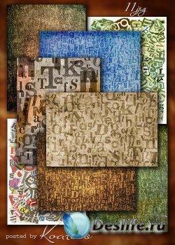 Набор винтажных растровых фонов с буквами