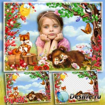Детская рамка для фото - Мишка, мишка, лежебока