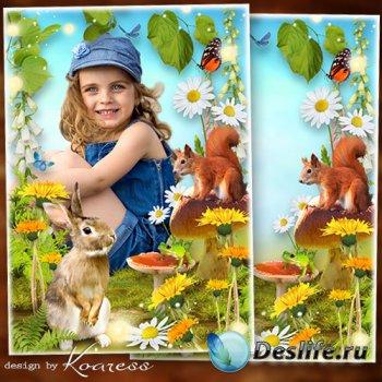 Летняяя рамка с зайчиком для детских фото на природе - Летняя полянка