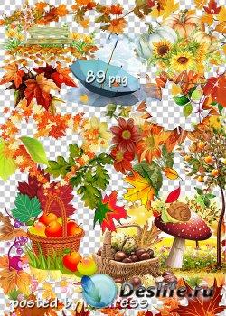 Подборка клипарта в png - Осенние композиции, листья, элементы пейзажа