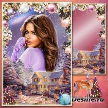 Поздравительная рамка для фото - Краски Рождества