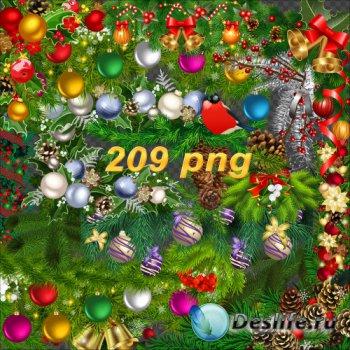 Богатый клипарт на прозрачном фоне - Новогодние кластеры, бордюры, уголки,  ...