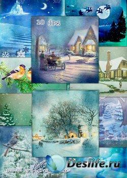 Зимние винтажные фоны для дизайна - Зимний сон