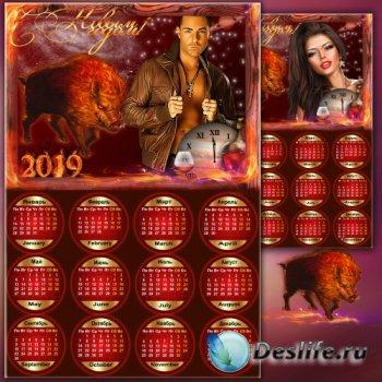 Поздравительный календарь-рамка на 2019 год - Тёплый Новый Год