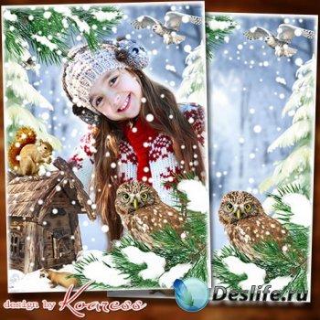 Детская фоторамка-коллаж для фотошопа - Снег на соснах, на кустах, в белых шубках ели