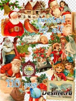 Рождественский и новогодний винтаж - Клипарт в PNG