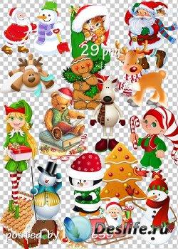 Клипарт png на прозрачном фоне - Новогодние, зимние рисованные персонажи