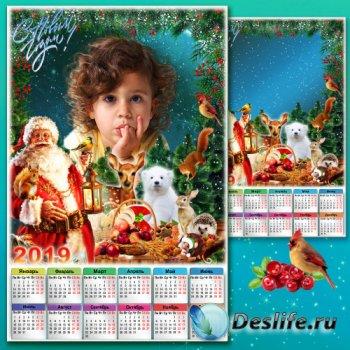 Календарь на 2019 год с рамкой для фото - Дед Мороз под Новый год все, что  ...