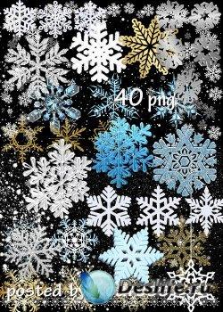 Клипарт png на прозрачном фоне - Разнообразные снежинки, снежинки 3D, рамки ...