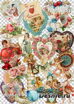Винтажный клипарт к Дню Святого Валентина - Set of vintage png clipart for  ...