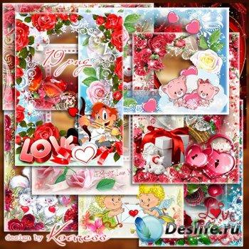 Романтические рамки для фотошопа - Пусть в День влюбленных валентинки любов ...