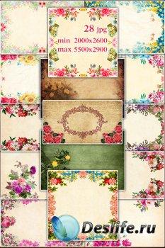 Vintage raster backgrounds with flowers - Подборка винтажных фонов с цветами