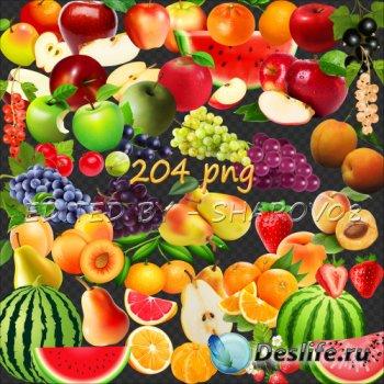 Клипарт на прозрачном фоне - Фрукты и ягоды
