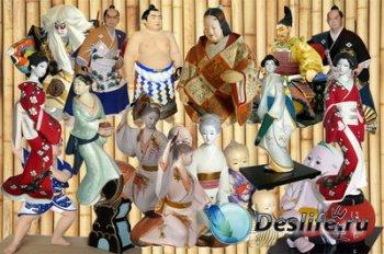 Клипарт Японские жанровые статуэтки хаката