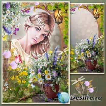 Рамка для Фотошопа - Натюрморт с полевыми цветами