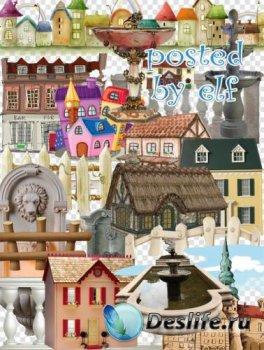 Клипарт без фона - Здания, заборы и ограды, фонтаны