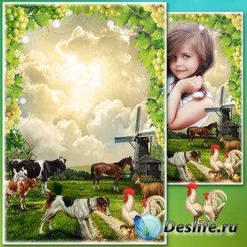 Рамка для Фотошопа - Деревенский летний пейзаж