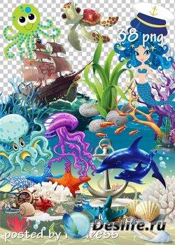 Морской летний клипарт для дизайна - Marine summer clipart for design