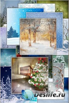 Зимние, новогодние фоны jpg для дизайна - Winter and Christmas backgrounds for design