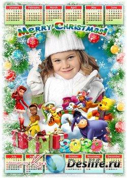 Праздничный детский календарь с рамокй для фото на 2020 год с героями мульт ...