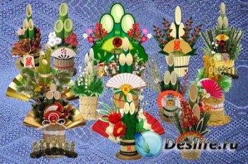 Клипарт Японские новогодние символы - связки Кадомацу