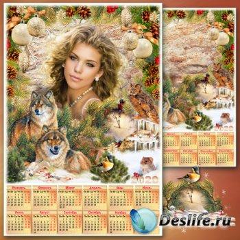 Праздничная рамка для фото с календарём на 2020 год - Новогодние истории 6