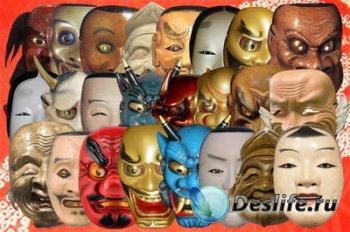 Клипарт Японские маски театральные, демонов, божественных существ Часть 1