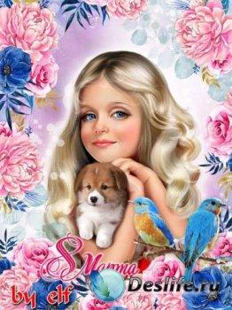 Поздравительная рамка для фото к 8 Марта - Для вас сегодня все цветы