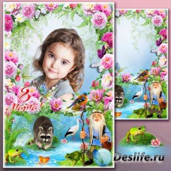 Весенняя сказочная рамка для Фотошопа - Тайны цветущего сада