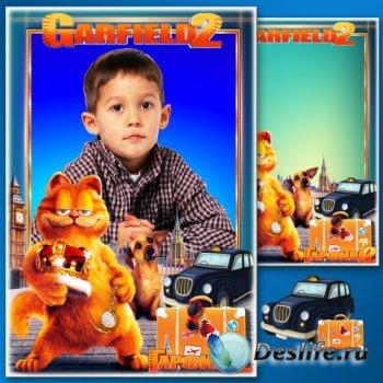 Детская рамка для фотошопа - Любимые сказочные герои мультфильмов 7. Гарфил ...