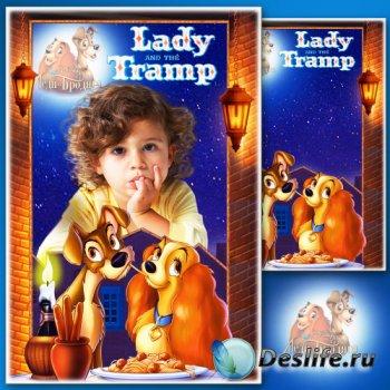 Детская рамка для фотошопа - Любимые сказочные герои мультфильмов 8. Леди и ...