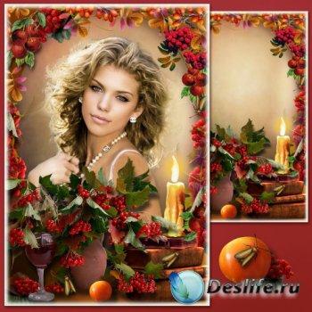 Рамка для фотошопа - Осень зрелая - рябина спелая